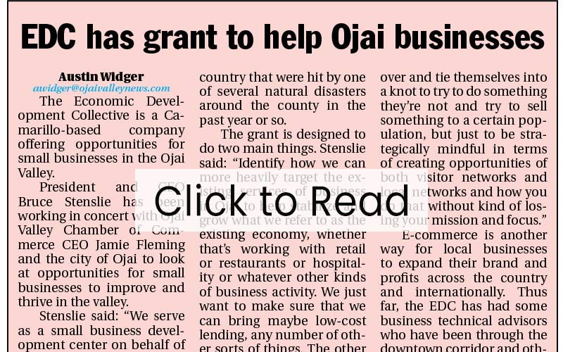 EDC has Grant to Help Ojai Business - Link to Article